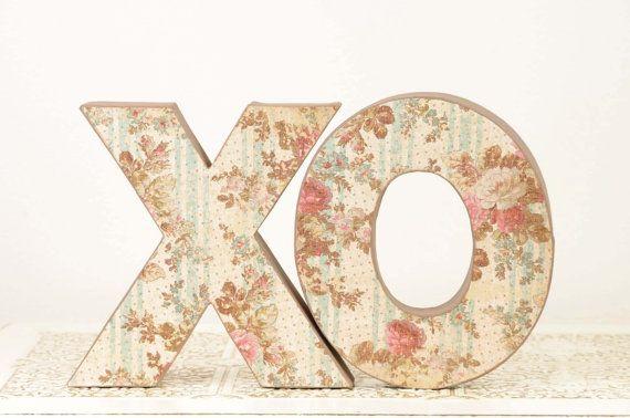 XO Wedding Decoration, Valentine's Day Decor... available at www.duryeaplace.com. #XO #etsy #etsyweddings #vintagewedding #floral #wedding