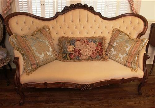 Walnut Victorian Parlor Sofa With Grapes On Crown ~ Liveauctioneers.com