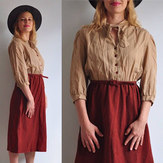 70s Camel & Rust Belted Midi Skirt // 80s Faux Suede Felt //