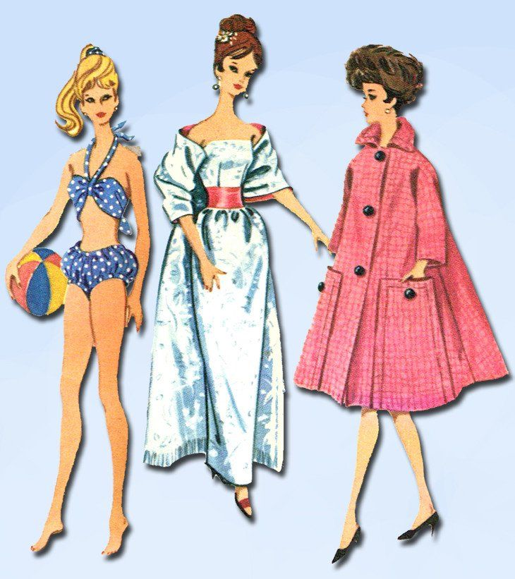 1960s Vintage McCalls Sewing Pattern 6260 11 1/2 Barbie High Heel ...