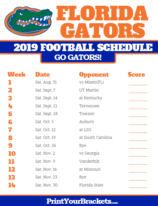 Printable Florida Gators Football Schedule Florida Gators Football Gators Football Gator Football Schedule