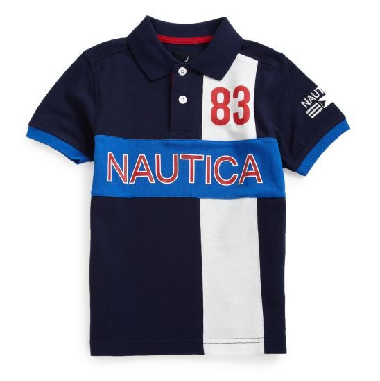 Nautica Boys Print Logo Polo