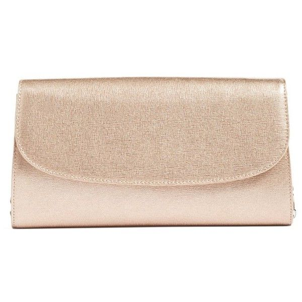 Women's Halogen Leather Clutch (245 BRL) ❤ liked on Polyvore featuring bags, handbags, clutches, rose gold, real leather handbags, chain strap handbag, pink handbags, pink leather purse and chain strap purse