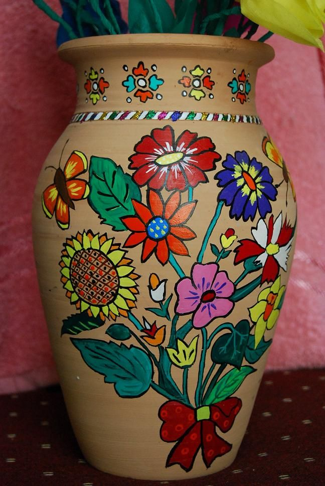 Painted pots pot painting craftziners diy for Clay mural designs