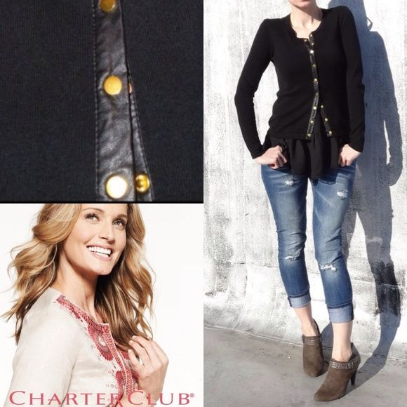 Cardigan With Leather Trim And Gold Buttons. Cardigan In