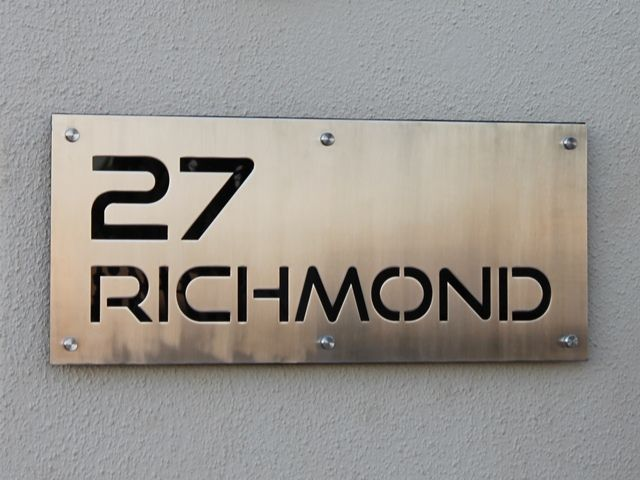 Stainless Steel Sign Grade 304 With Brushed Finish And Black Perspex Backing Mounted With Mounting Spacers Steel Signs Metal Signage Signage Design