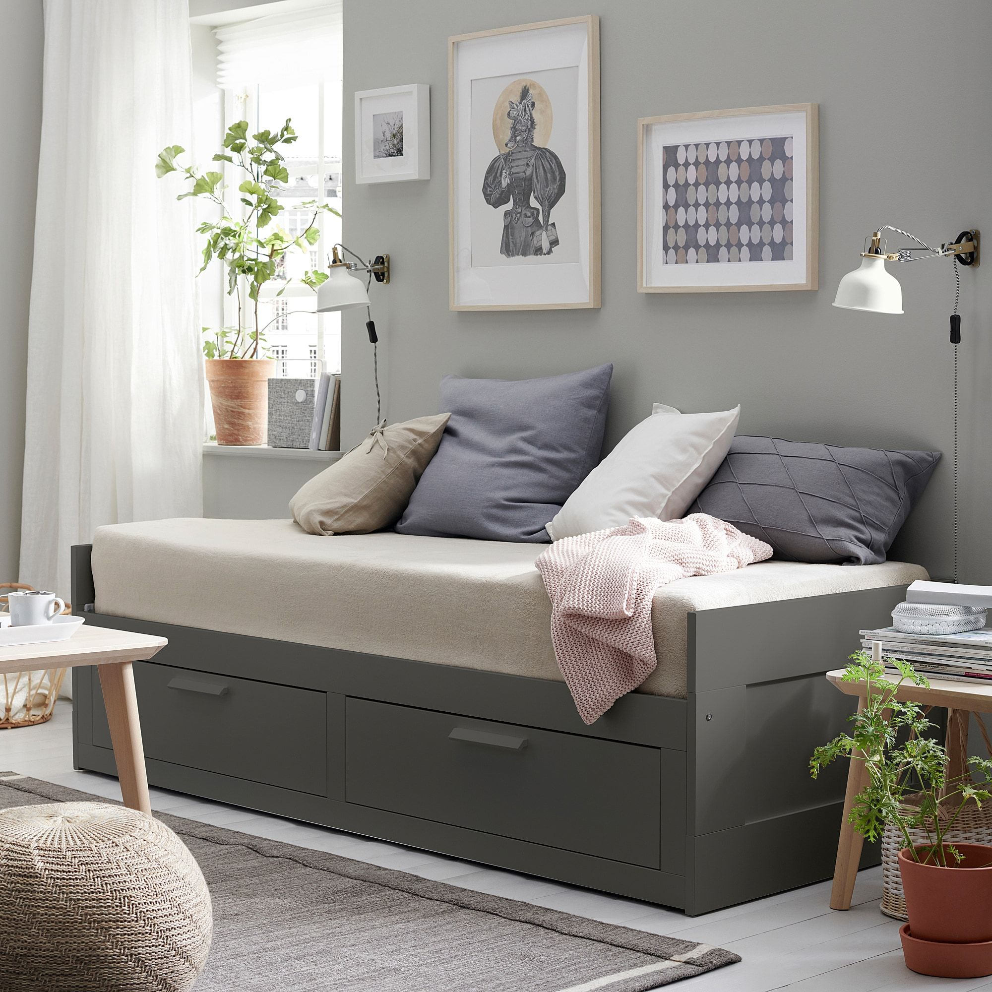 BRIMNES Daybed frame with 2 drawers, gray IKEA in 2020