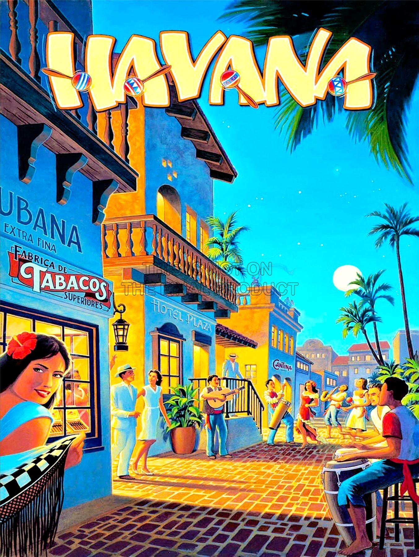 Havana Cuba Vintage Travel Poster Home Living Wall Decor Sizes Inches 8x10 12x18 16 20 18x24 24x36 Retro Travel Poster Vintage Travel Posters Travel Posters