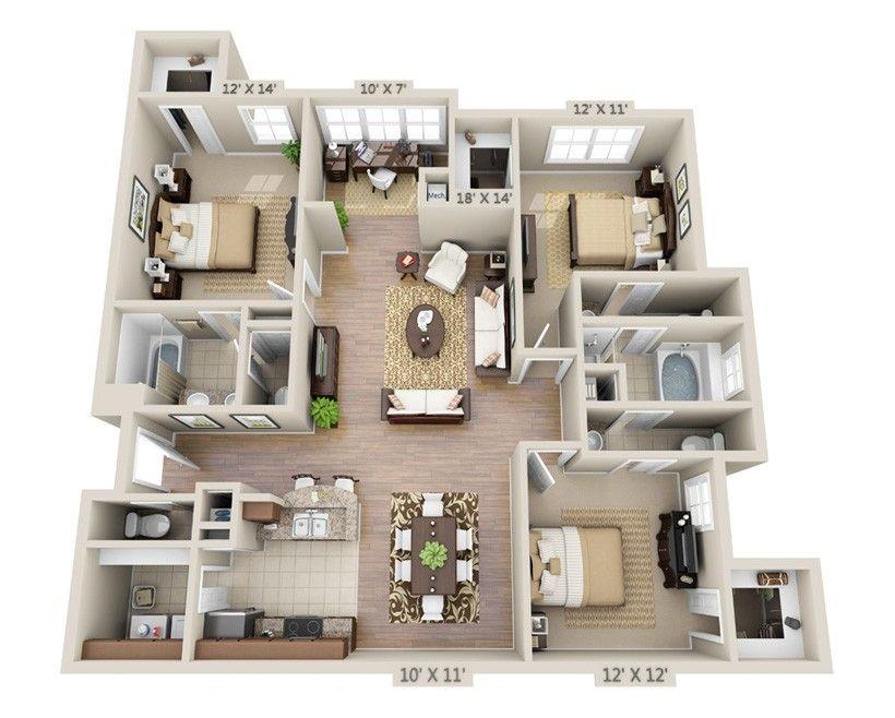 The Oak Brigham Woods Apartments House Design Floor Plans Apartment