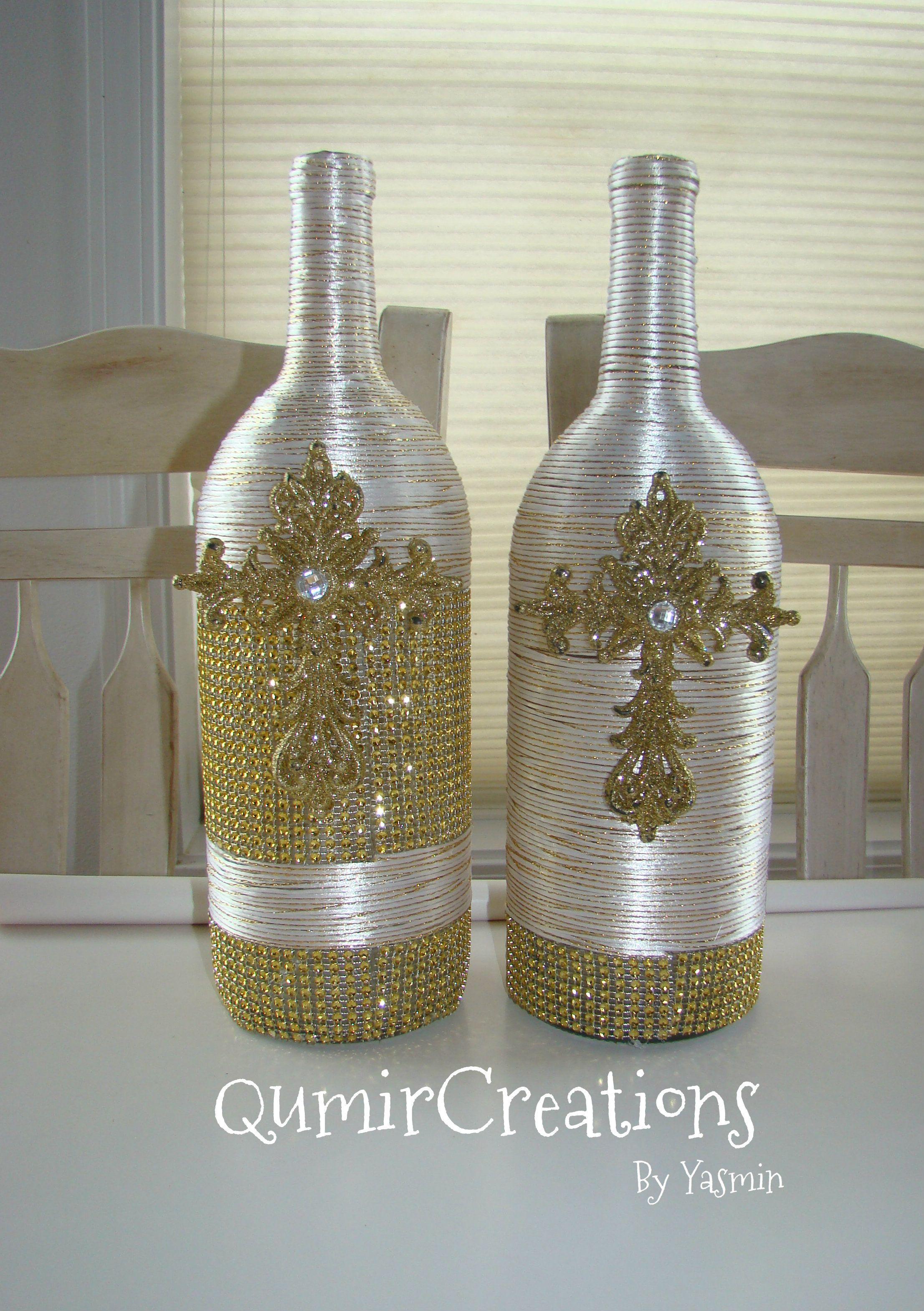 Botellas De Vino Decoradas Para Primera Comunion.Reciclando Botellas De Vino Con Cruz Para Bautizo O Primera