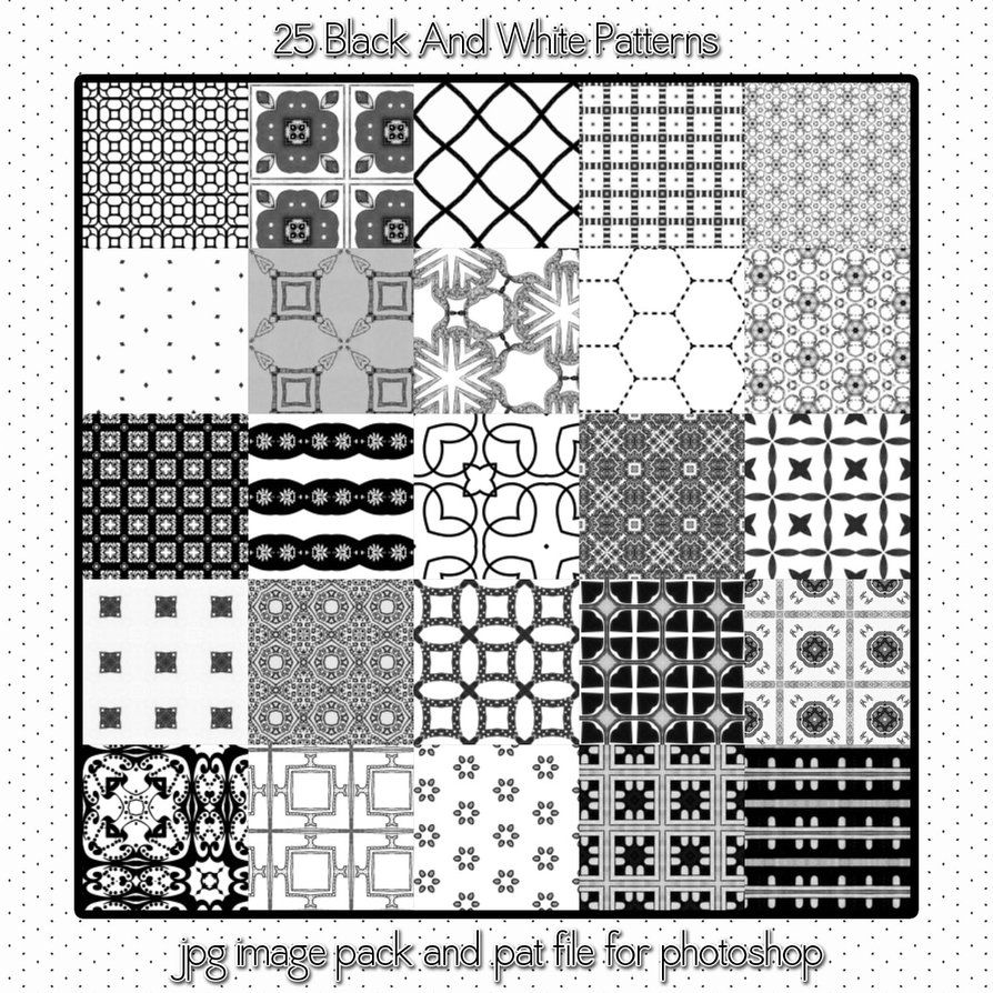 FREE -- 25 Black & White seamless Patterns - No commercial