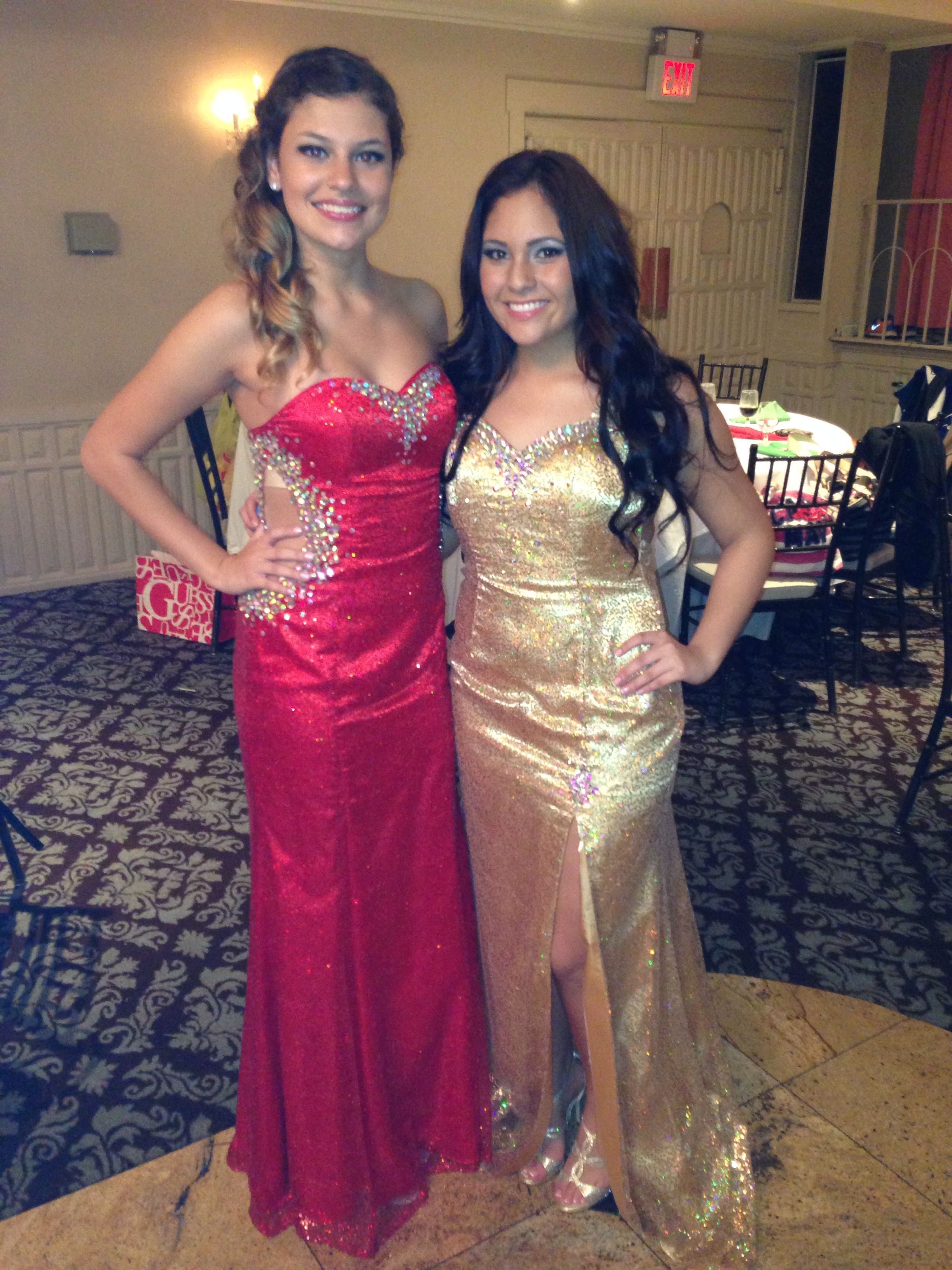 Gold or red sequin dresses available.