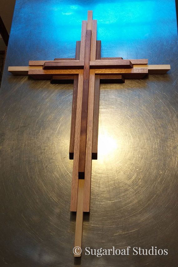 Large contemporary wood cross home decor christian wood hardwood cherry oak walnut Home decor wall crosses