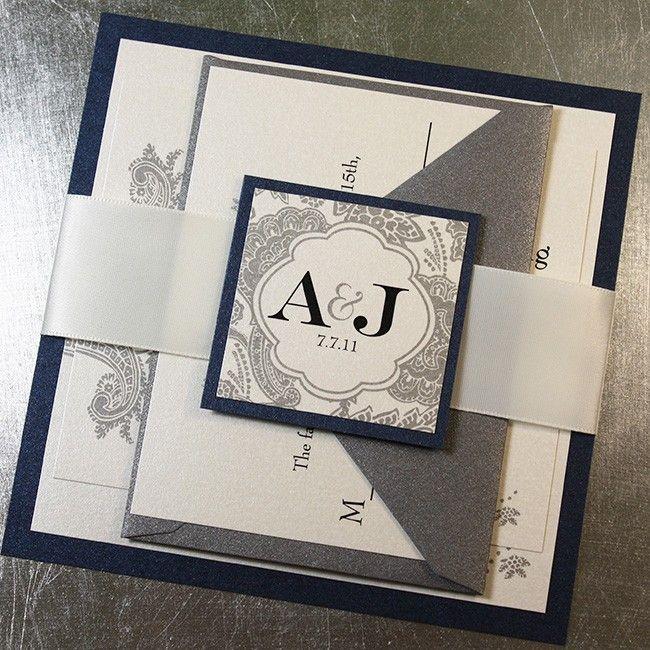 Midnight Silver Bellevue Wedding Invitation Suite