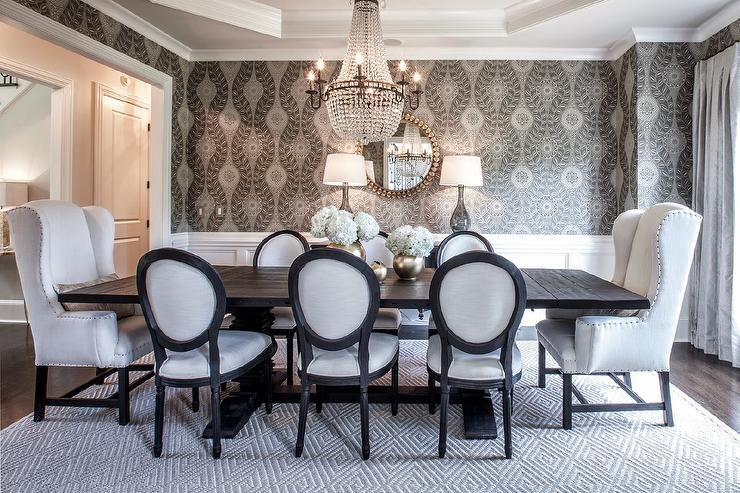 Elegant dining table features an octagon tray ceiling accented ...