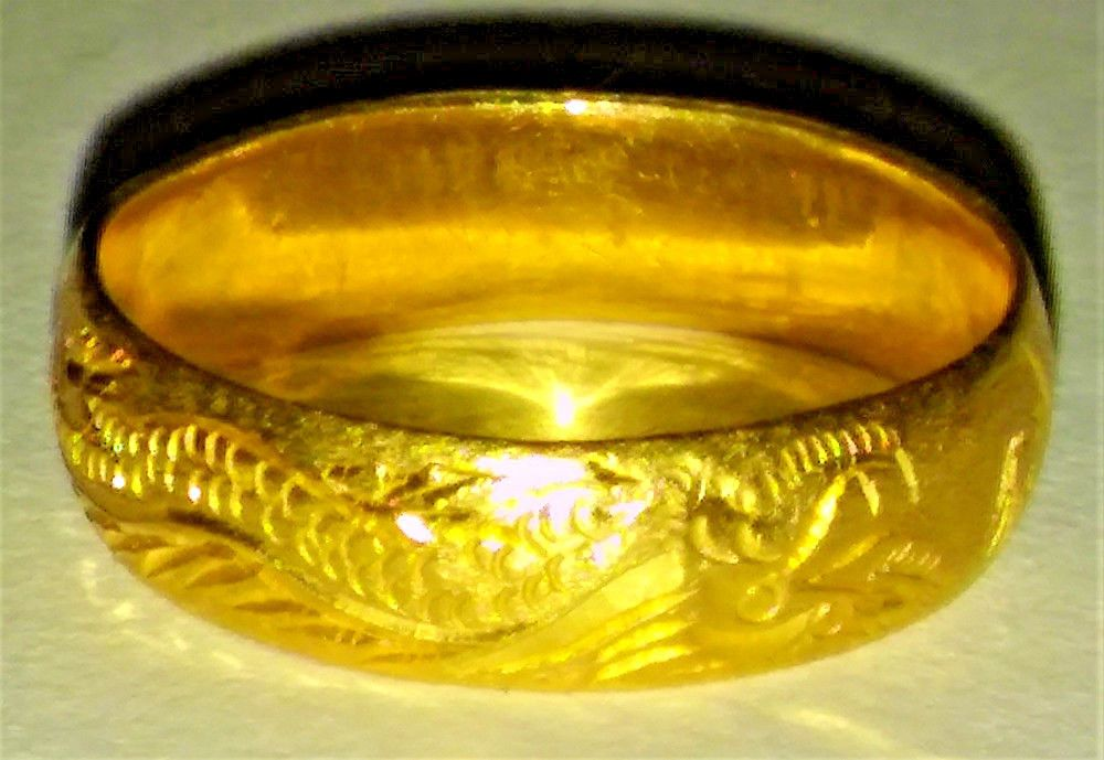 Antique Vintage 24k Ring Chinese Pure Gold Wedding Band Dragon 9999 Stamped Wow Antique Wedding Rings Modern Gold Jewelry Gold Wedding Band