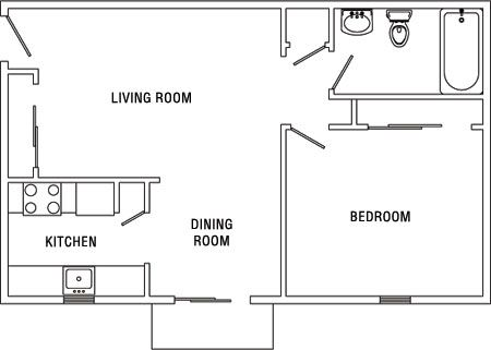 diagram of a one bedroom apartment at Surrey Gardens Apartments ...