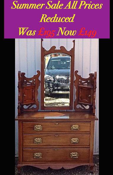 Vintage Dressing Table C1910 Satin Walnut Triple Mirror For Sale In
