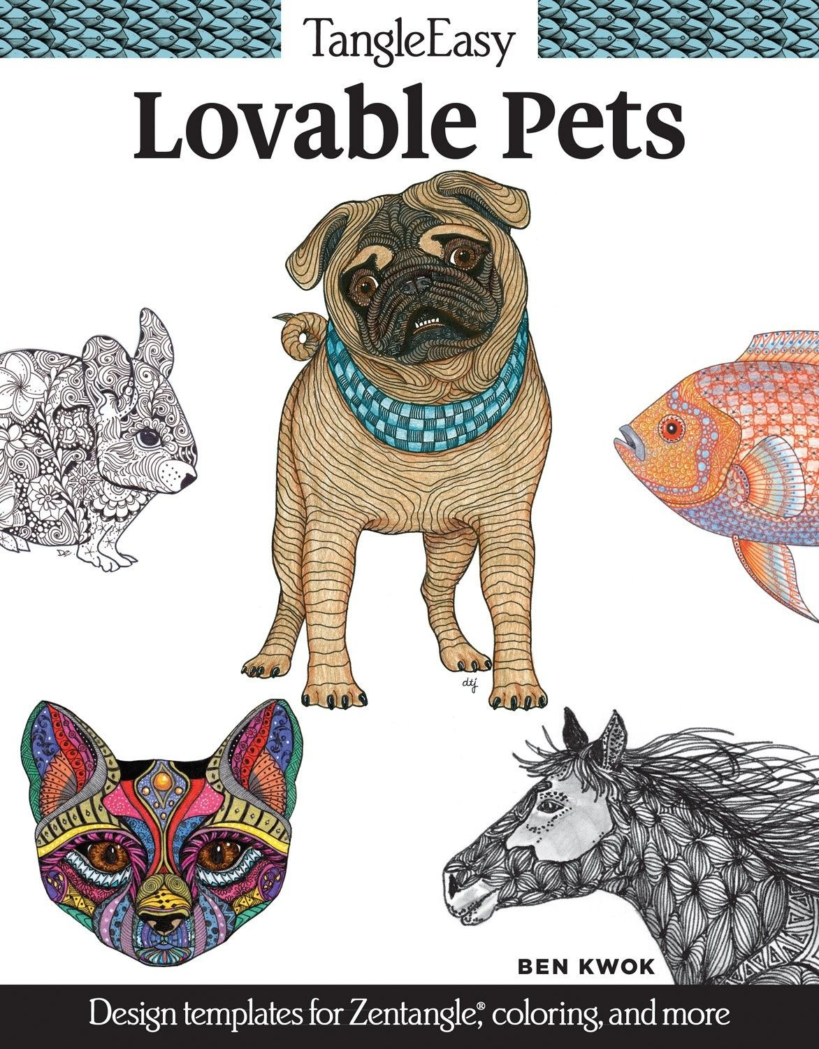 TangleEasy Pets Adult coloring books 32 loving pet designs to color for fun and relaxation (aff link)