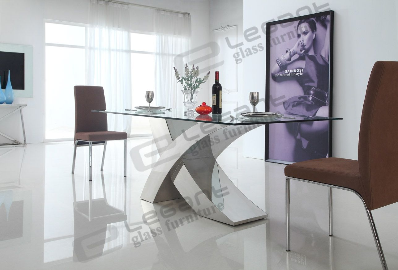 Superbe Exciting Modern Glass Dining Table And Stainless Steel Dining Table Along  Twou2026