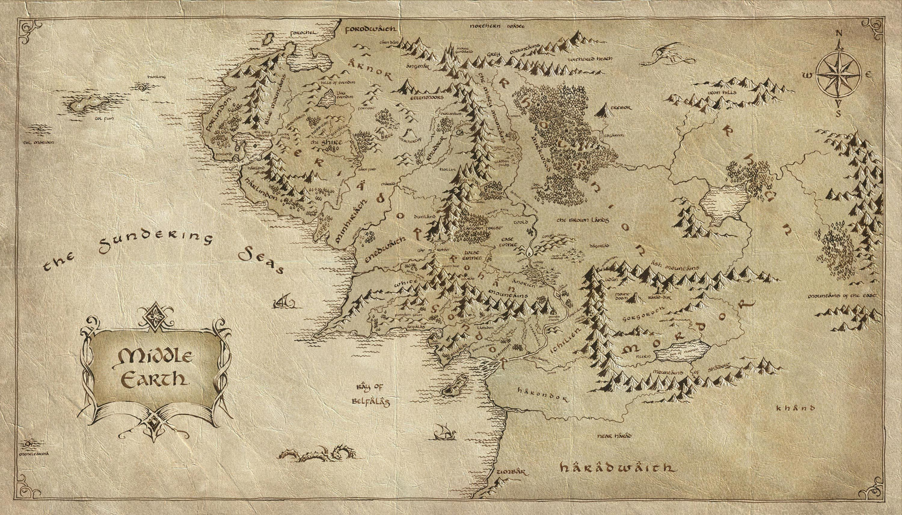 Download wallpaper map, Middle-earth, paper, Lord of the ...