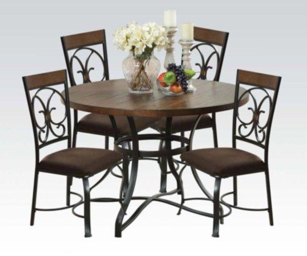acme furniture - jassi 5 piece dining table set in antique black, Esstisch ideennn