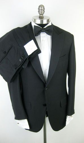 New OXXFORD Gibbons Peak Super 100's Black Tuxedo