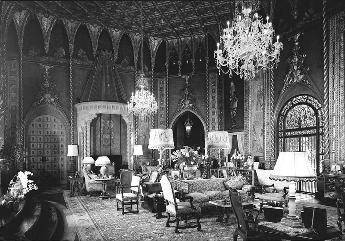 1924: AN AMERICAN HEIRESS  Heiress and industry tycoon Marjorie Merriweather Post sources Schumacher fabrics for her Palm Beach estate Mar-a-Lago, one of the largest and most storied homes in America.