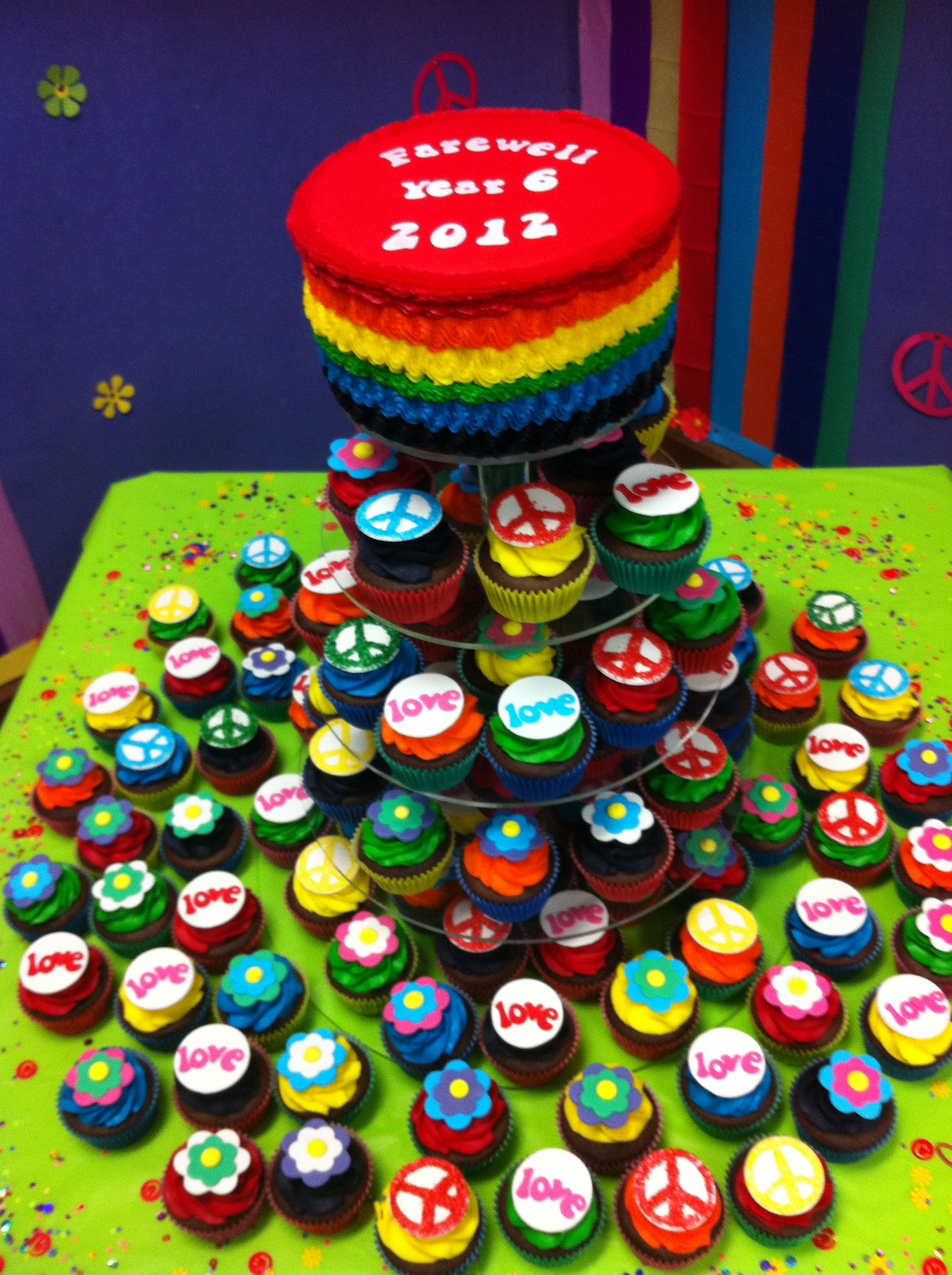 Cake and cupcake tower for my sons schools Year 6 farewell ...