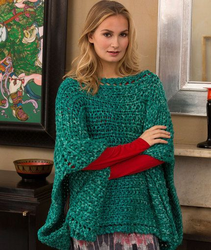 Shimmering Jade Knit Poncho Knitted Poncho Ponchos And Jade