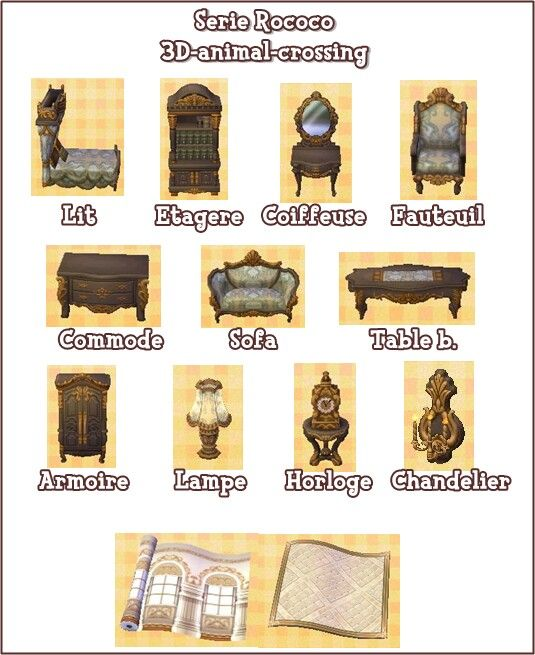 serie rococo animal crossing new leaf pinterest collection de meubles meubles et jeu. Black Bedroom Furniture Sets. Home Design Ideas