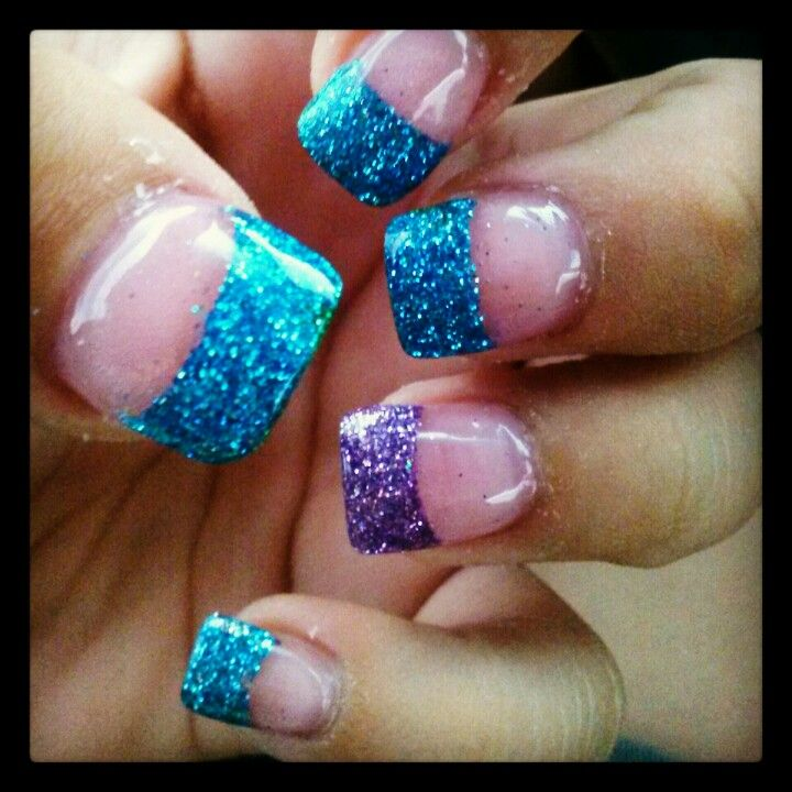 Purple Nail Designs For Prom: Blue And Purple Glitter Acrylic Nails These Are My Own