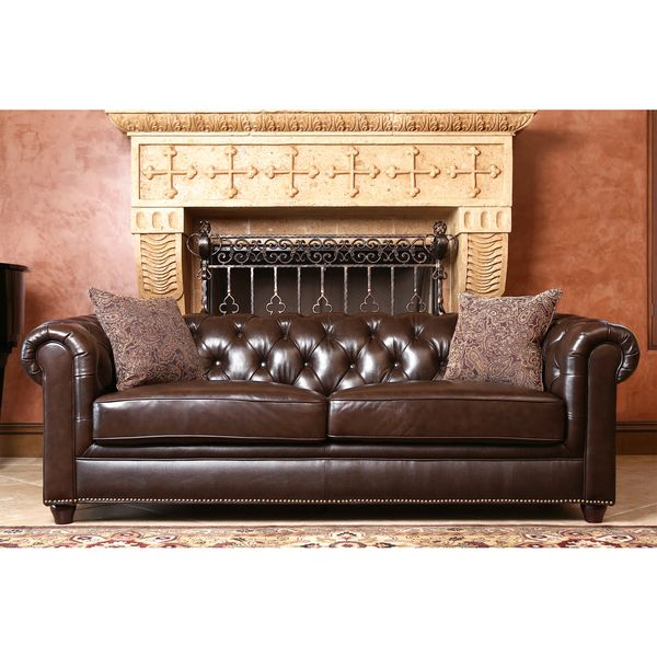 Abbyson Living Carmela Dark Brown Top Grain Leather Chesterfield Sofa    Overstock™ Shopping   Great Deals On Abbyson Living Sofas U0026 Loveseats