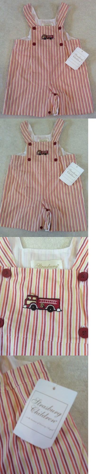 One-Pieces 57784: Strasburg Children Jon-Jon Romper 24 Months Fire Truck Embroidery Striped Nwt -> BUY IT NOW ONLY: $31.66 on eBay!