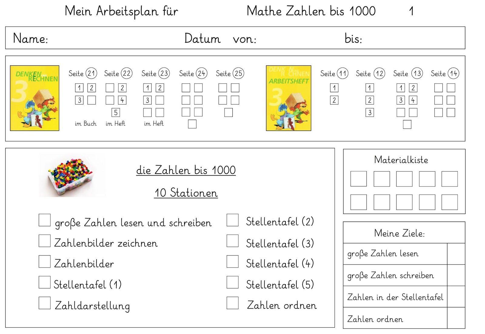 Arbeitsplan Mathe | Matheunterricht | Pinterest | Arbeitsplaner ...
