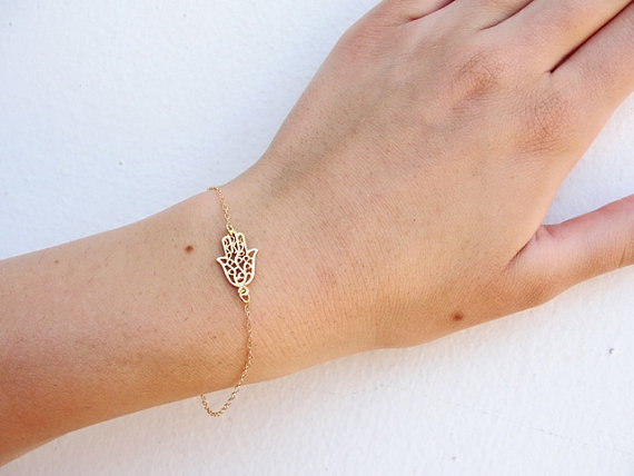 Hamsa Hand Bracelet 14k Gold Filled