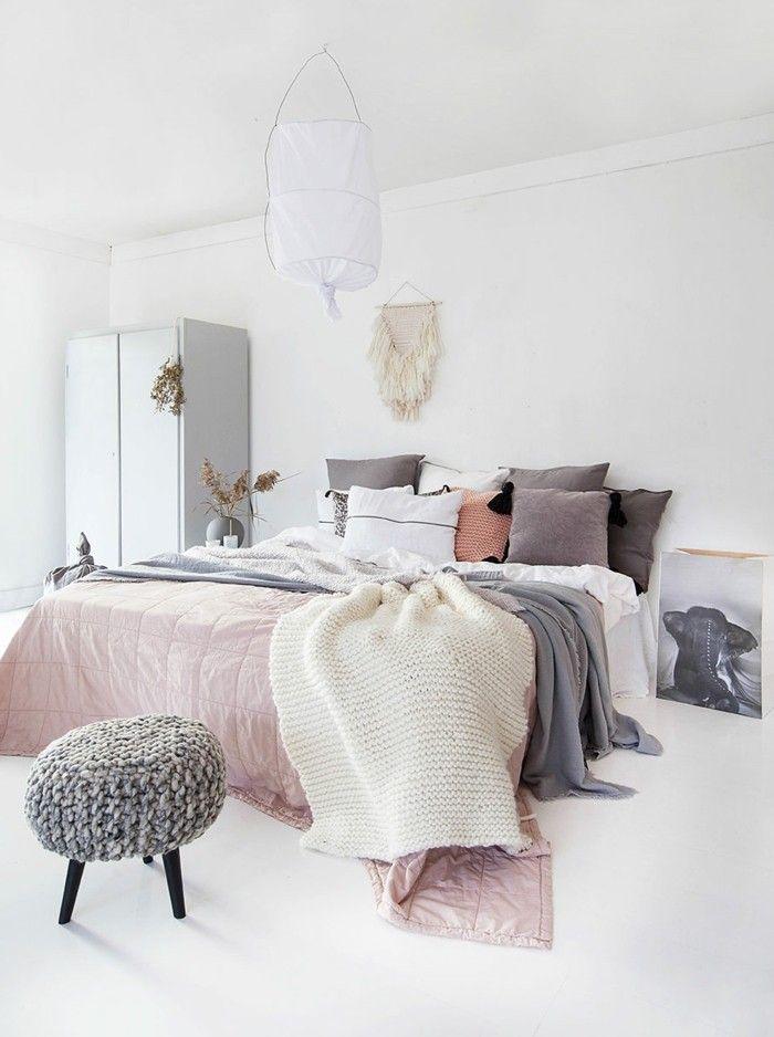 Skandinavisch Einrichten Schlafzimmer Pastellfarben Weißer Boden ... Schlafzimmer Pastellfarben