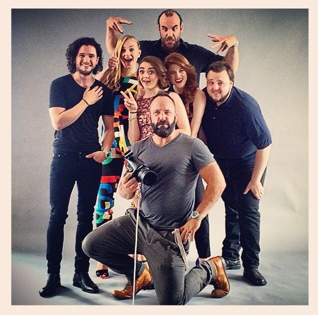 Game of Thrones Cast (Kit Harington, Sophie Turner, Rory McCann, Maisie Williams, Rose Leslie, John Bradley) and photographer