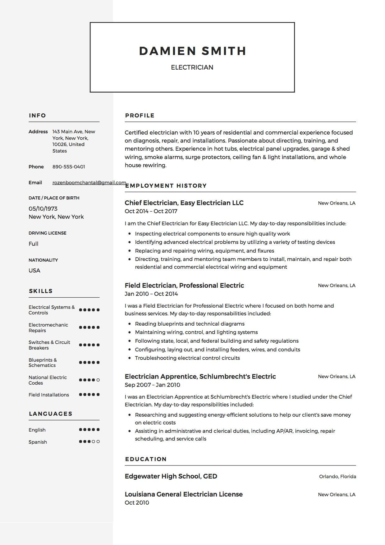 Sample Resume For Electrician Free Electrician Resume Sample Template Example Cv Resume .