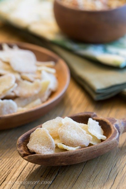 Homemade candied ginger - for a quick sweet snack or add to muffins, cookies, yogurt or even rice for that something special.  Easy to make and inexpensive too!