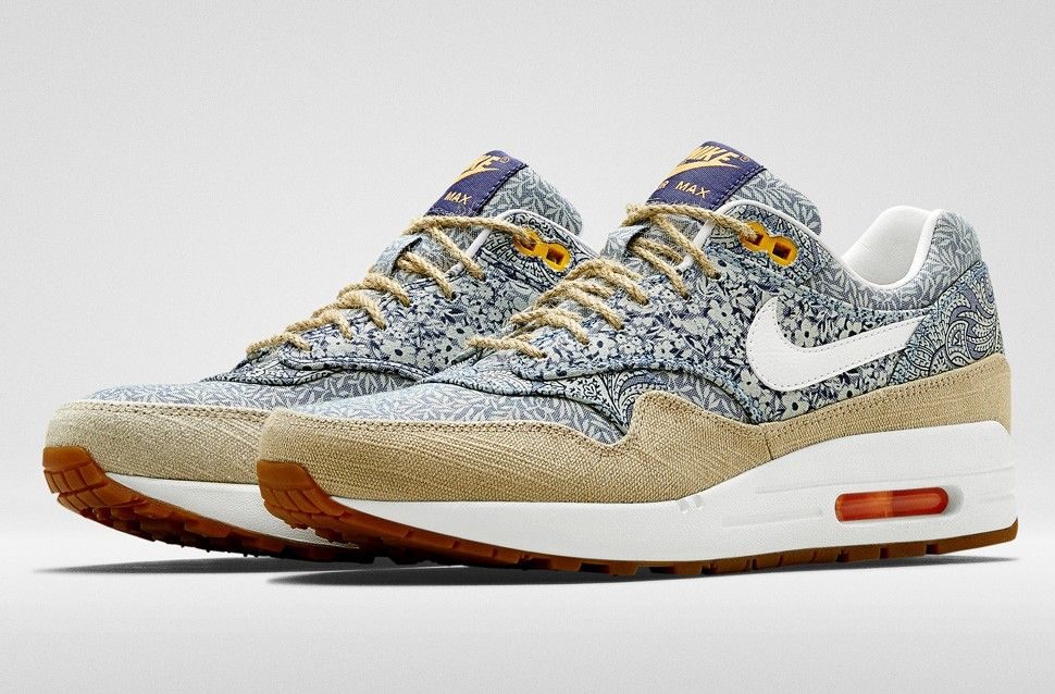 details for new collection best loved Nike Air Max 1 Liberty Women - Running Shoes- Blue White ...