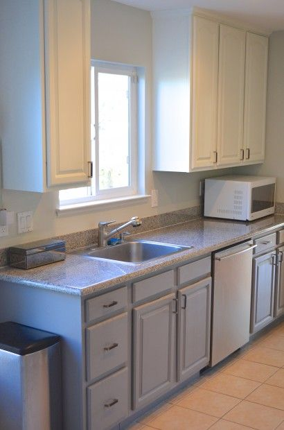 DIY Two Tone Kitchen Painting Cabinets Galley Layout Cheap Remodel Ideas MyMommaToldMe