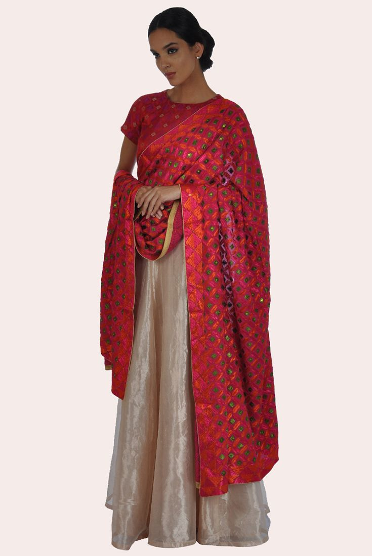 f5c6e45ed4 Red Brocade Top With Silvery -Gold Tissue Skirt And Phulkari Dupatta ...