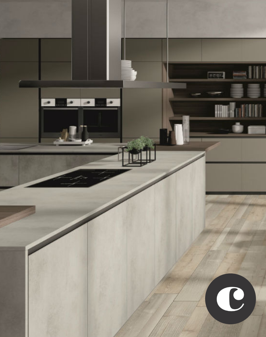 Lab Effetto Cemento Con Isola Arredamento Isola Cucina Arredo Interni Cucina Arredamento Salotto Cucina