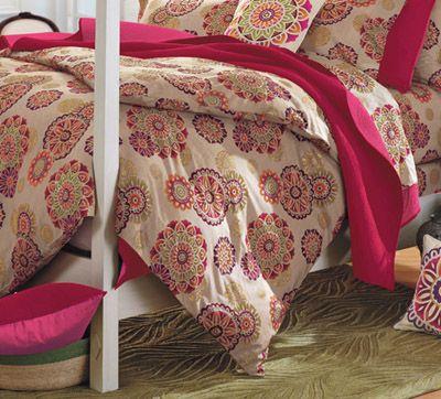 Suzani Blossoms Cotton Percale Duvet Cover
