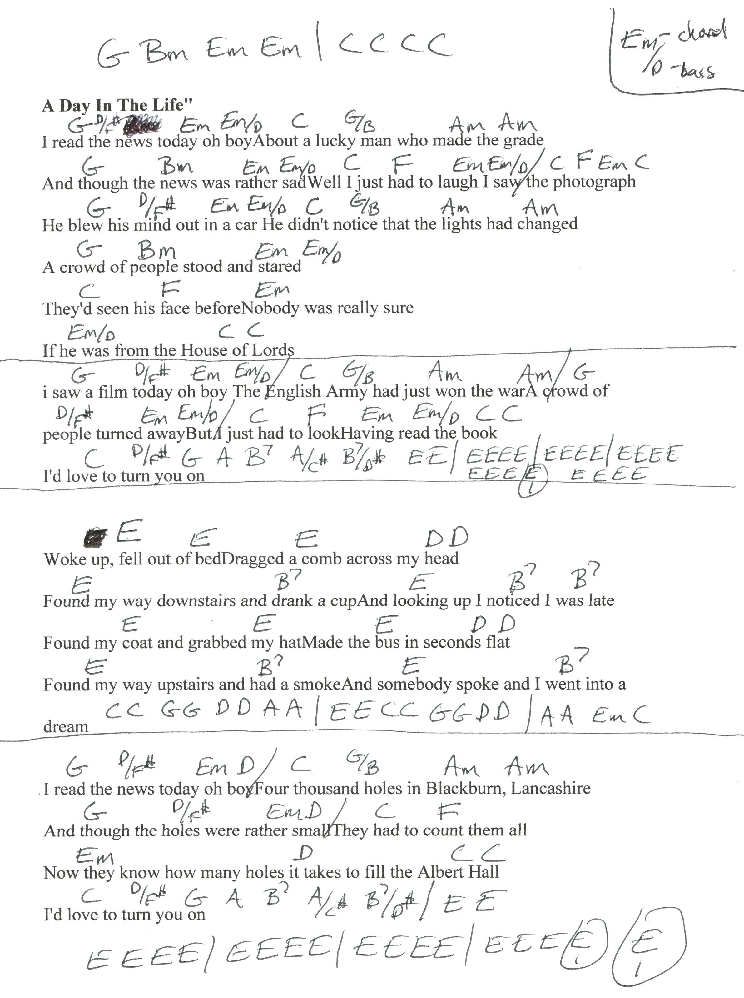 The Beatles A Day In The Life Guitar Chords And Lyrics Google Search Guitar Chords And Lyrics Lyrics And Chords
