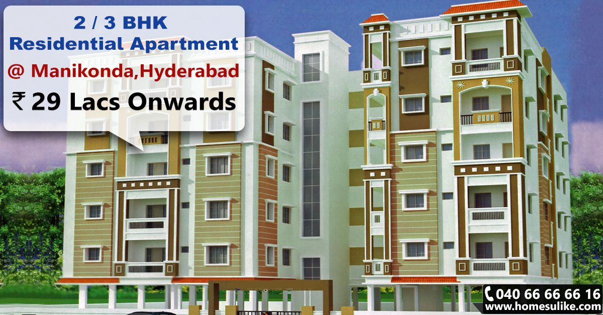 #2BHK and #3BHK Residential flats for sale at #Manikonda, Hyderabad. Size range: 1165 - 1580 Sq.ft Price Range: 29Lacs to 39.5 Lacs For more details click on http://www.homesulike.com/index.php/projects/viewdetails/Royal-Elite Call us 040-66666616 for site visit.