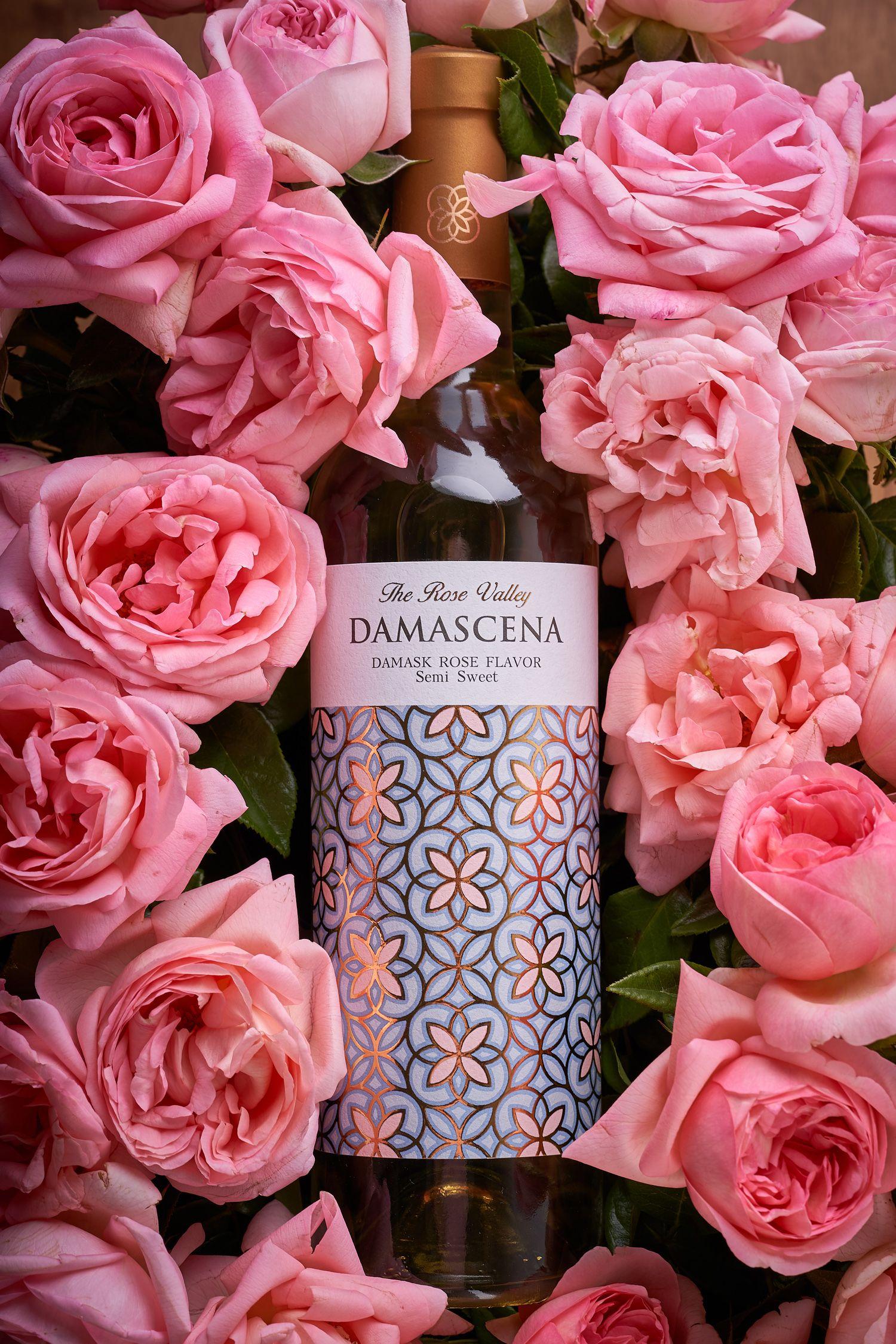 Damascena Rose Wine Label Packaging Design In 2020 Rose Wine Label Wine Label Packaging Packaging Design