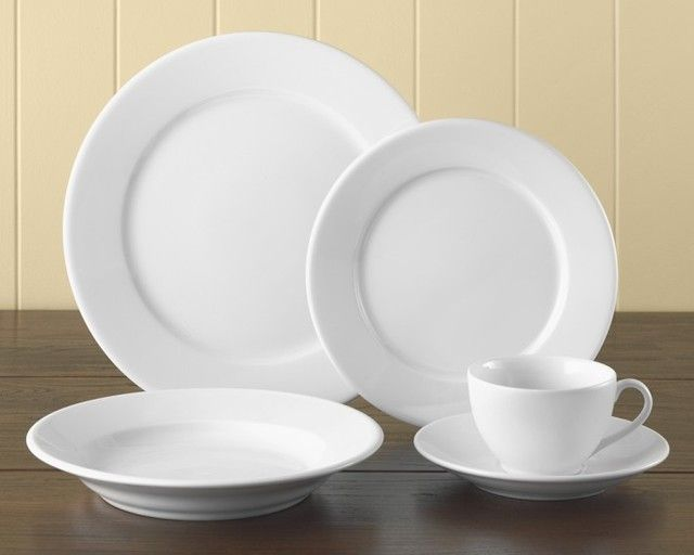 Apilco Tradition Porcelain Dinnerware Place Settings from William-Sonoma (For when our everyday wears out.which is sooner than later) & A white place setting is always a classic and it allows me to ...