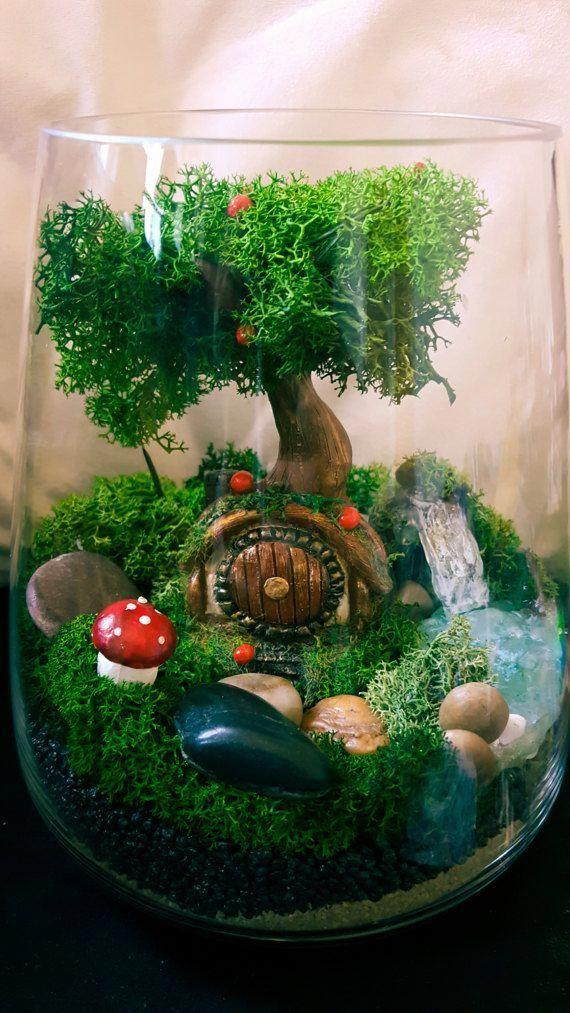 D I Y Terrarium Faux Moss Terrarium Waterfall Terrarium